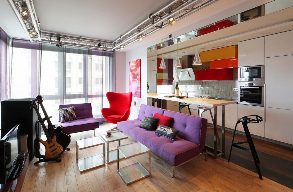 Интерьер квартиры-студии в стиле фьюжн