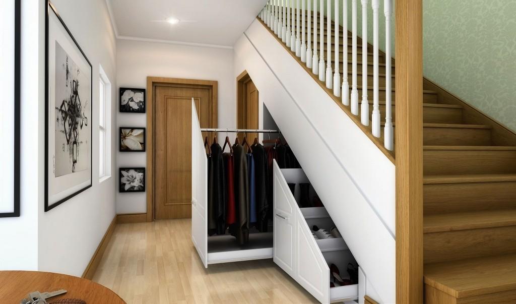 гардеробная под лестницей фото интерьер