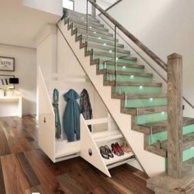 гардеробная под лестницей фото интерьера