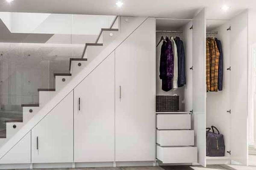 гардеробная под лестницей идеи декора