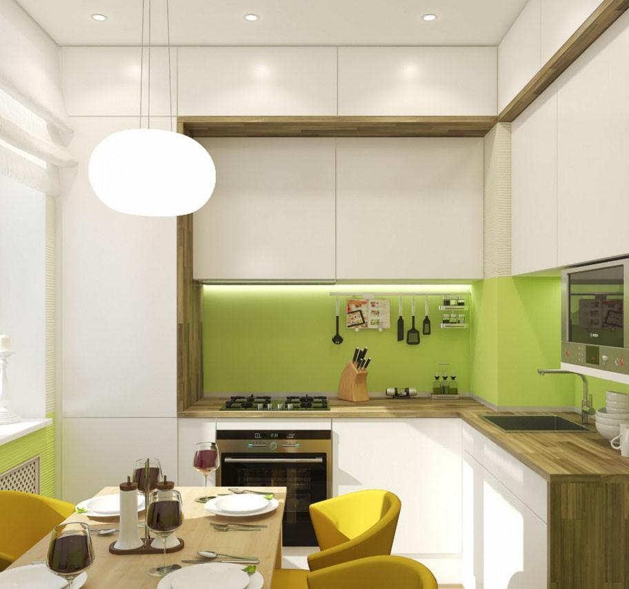 Угловой гарнитур с навесными шкафами до потолка