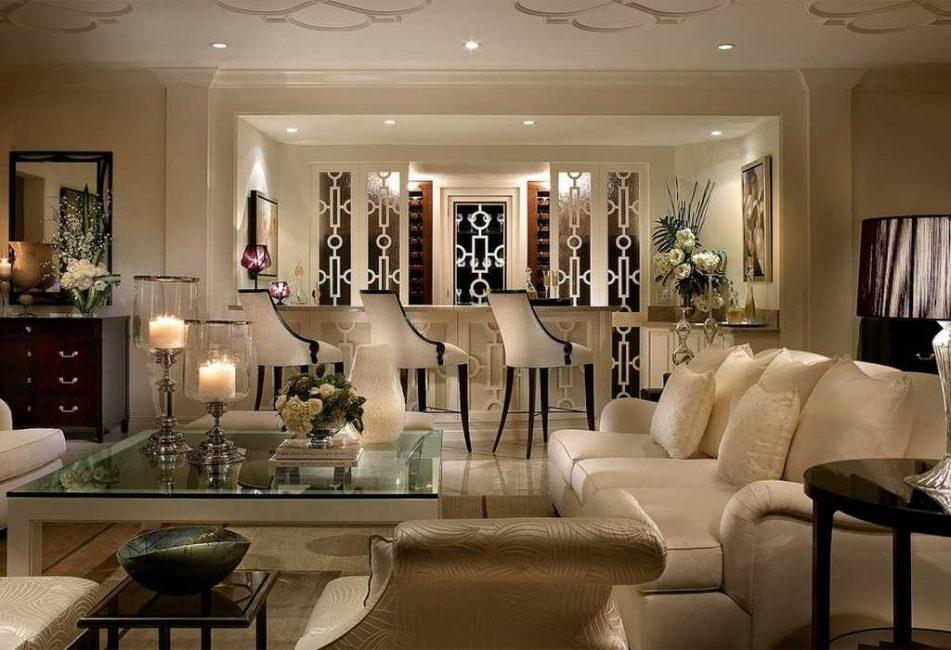 Дизайн большой гостиной в стиле арт деко
