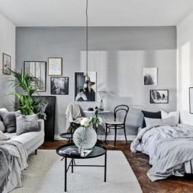 гостиная и спальня в одной комнате фото обзоры