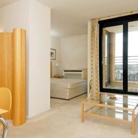гостиная и спальня в одной комнате фото оформление
