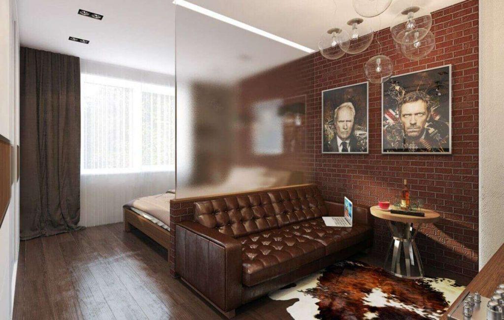 гостиная и спальня в одной комнате фото видов