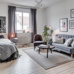 гостиная и спальня в одной комнате идеи дизайн