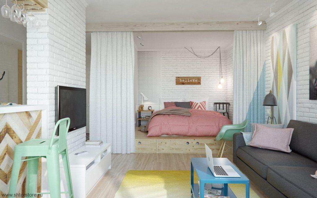 гостиная и спальня в одной комнате идеи обзоры