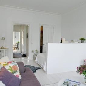 гостиная и спальня в одной комнате варианты идеи