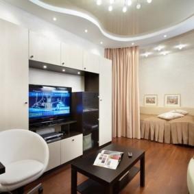 гостиная и спальня в одной комнате виды фото