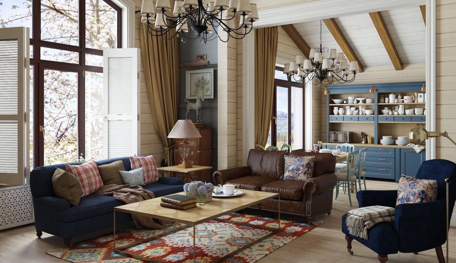 гостиная в стиле кантри дизайн