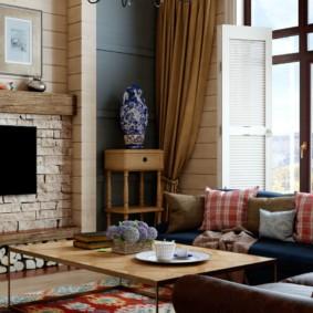 гостиная в стиле кантри фото вариантов