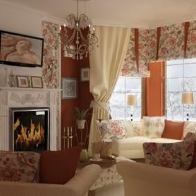 гостиная в стиле кантри идеи дизайн