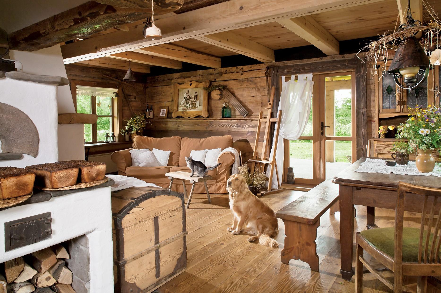 гостиная в стиле кантри интерьер