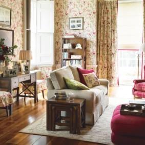 гостиная в стиле кантри варианты фото
