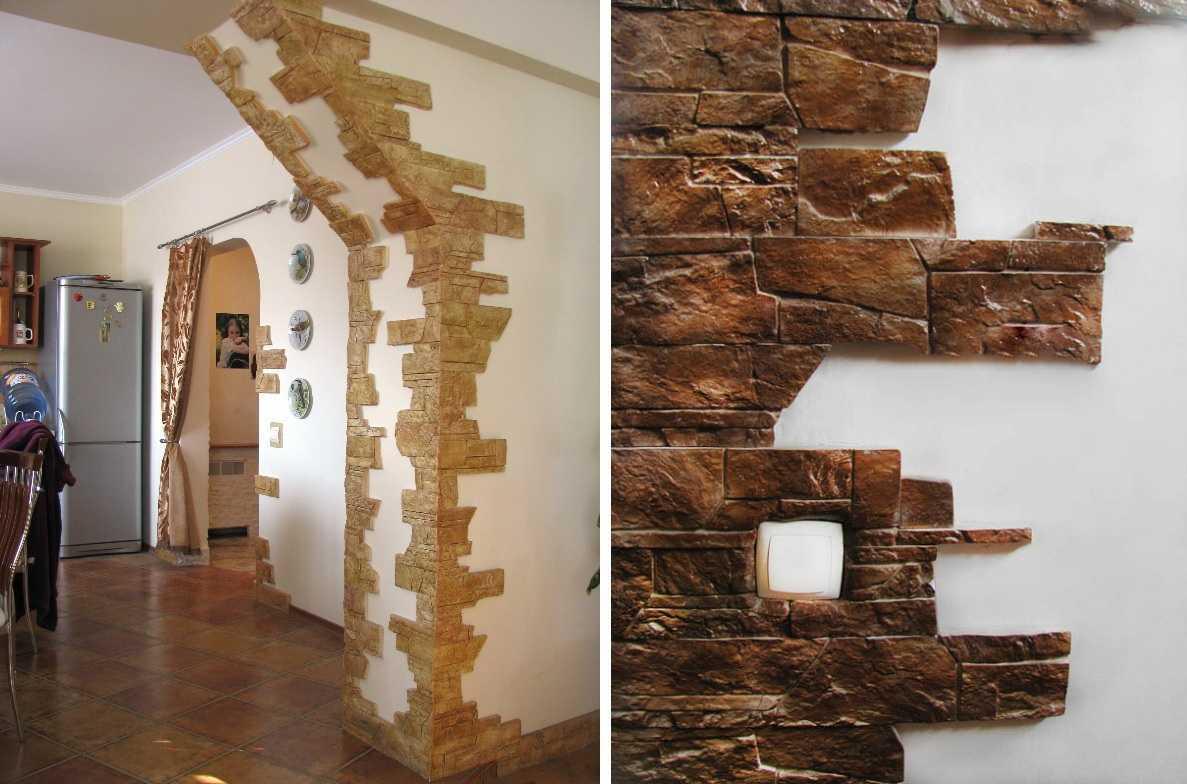 отделка углов в дизайне квартиры камнем