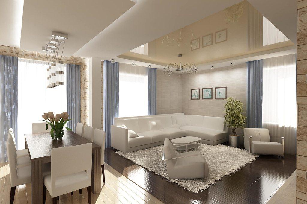 натяжные потолки фото комната с кухней совмещенная