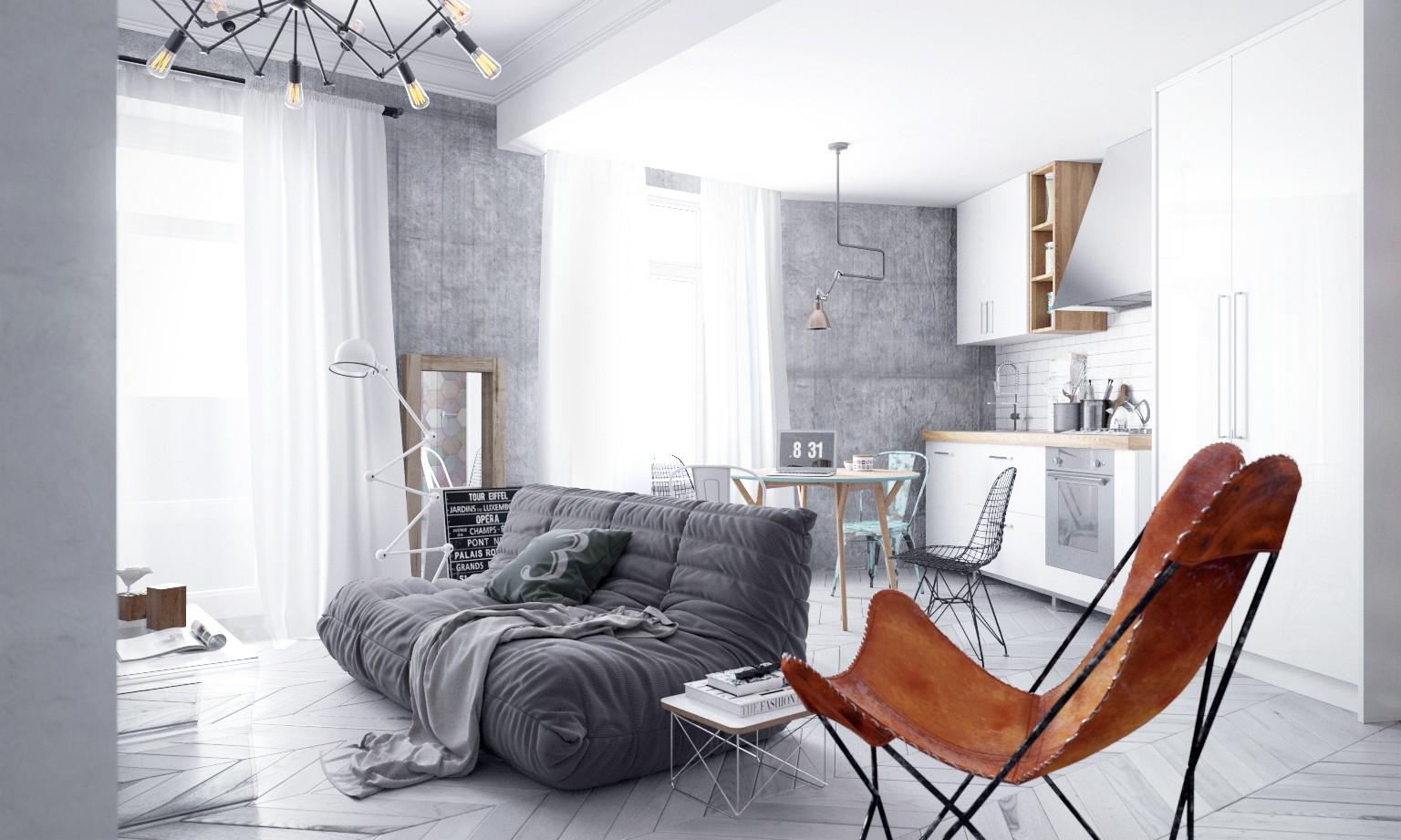 светлый лофт для маленькой квартиры