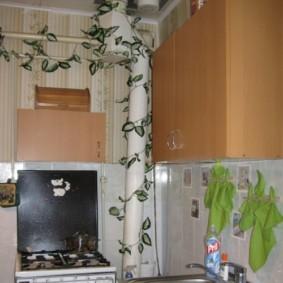 как спрятать газовую трубу на кухне оформление