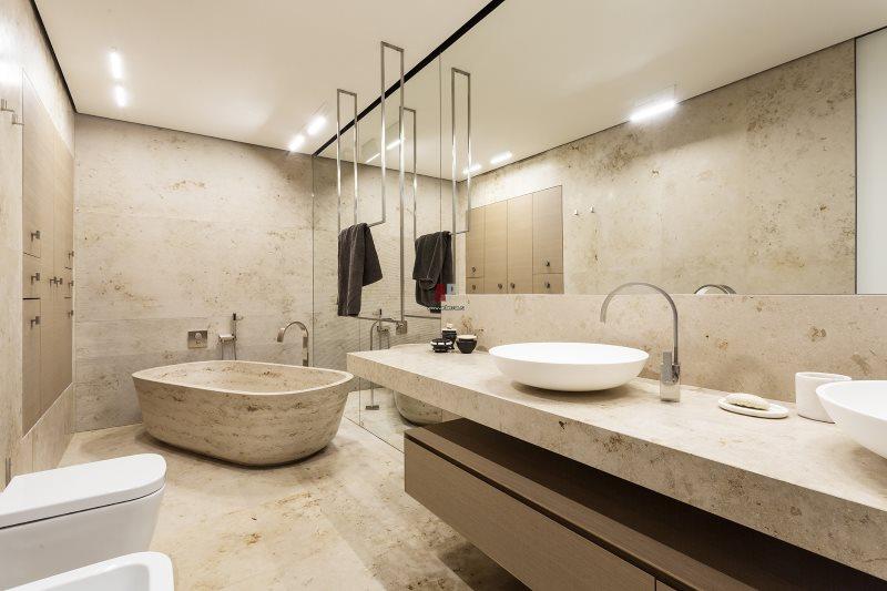 Каменная ванная в стиле минимализма