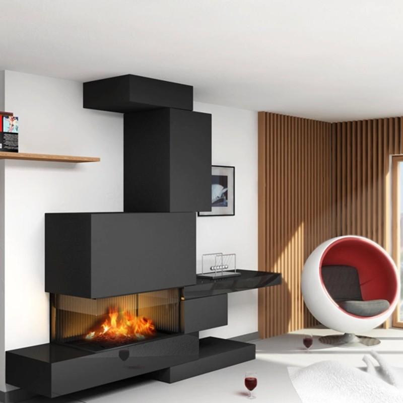 Черный камин в гостиной стиля хай тек