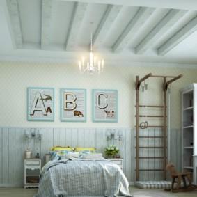 Декор балками потолка в детской