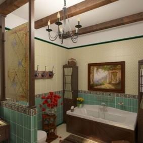Декор балками потолка в ванной комнате