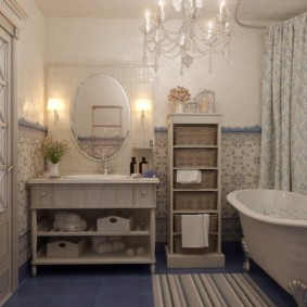 Дизайн ванной в квартире в стиле кантри