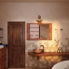 Интерьер просторной ванной в деревенском стиле