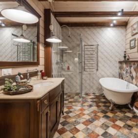 Керамический пол ванной в стиле кантри
