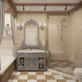 Деревянная мебель в интерьере ванной