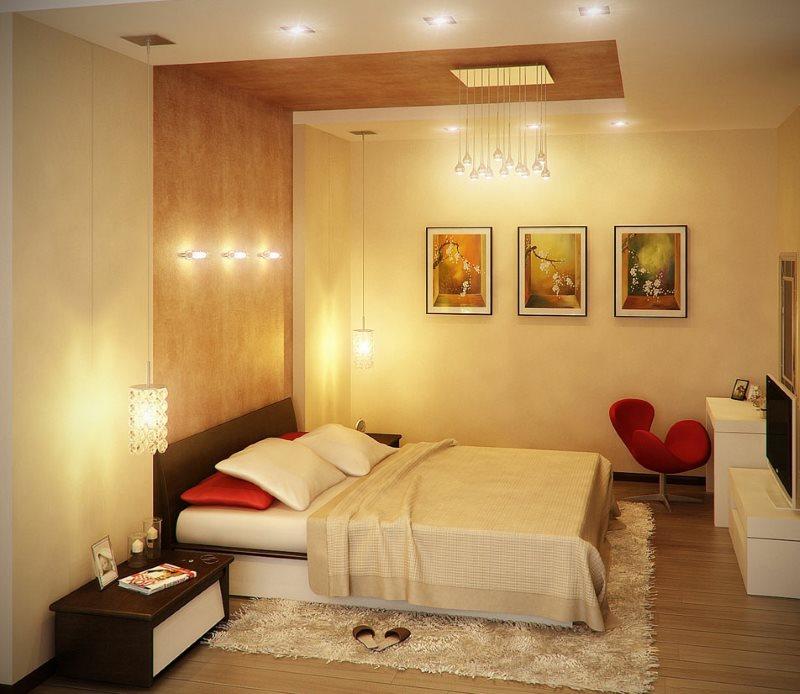 Освещение современной спальни без окна
