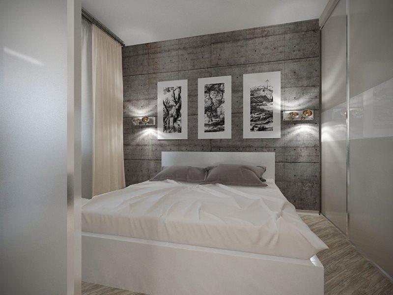 Интерьер современной спальни с минимумом мебели