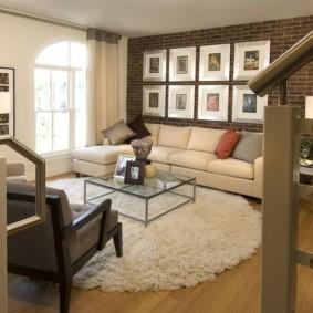кирпичная стена в гостиной дизайн идеи
