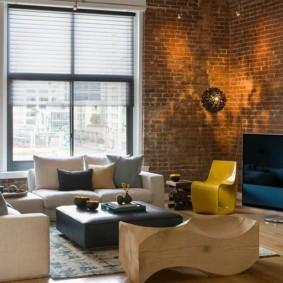 кирпичная стена в гостиной фото дизайна