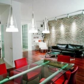 кирпичная стена в гостиной фото оформления