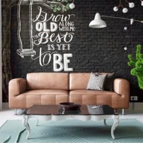 кирпичная стена в гостиной фото варианты