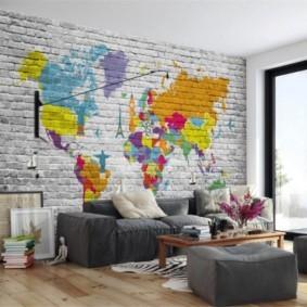 кирпичная стена в гостиной фото виды