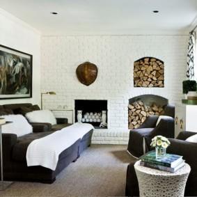 кирпичная стена в гостиной идеи декора