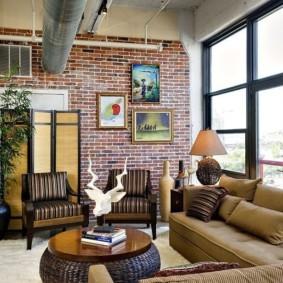 кирпичная стена в гостиной идеи дизайн