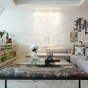 кирпичная стена в гостиной идеи дизайна
