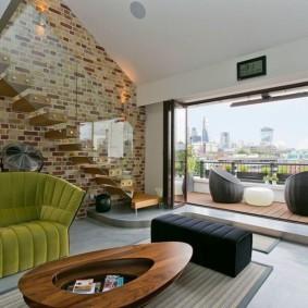 кирпичная стена в гостиной идеи интерьер