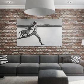 кирпичная стена в гостиной идеи оформление