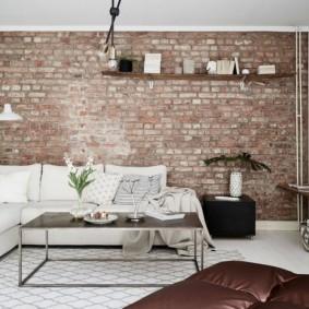 кирпичная стена в гостиной идеи оформления