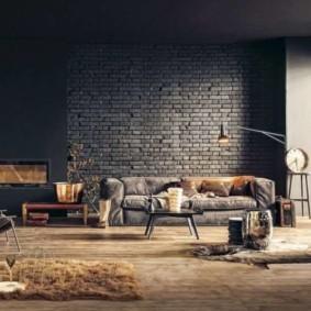 кирпичная стена в гостиной идеи вариантов