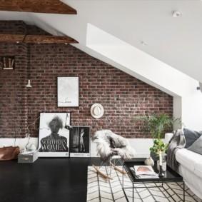 кирпичная стена в гостиной идеи варианты
