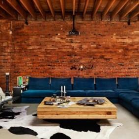 кирпичная стена в гостиной идеи виды
