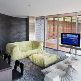 кирпичная стена в гостиной интерьер идеи
