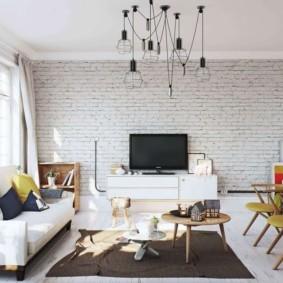 кирпичная стена в гостиной варианты фото