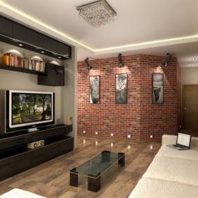 кирпичная стена в гостиной виды дизайна