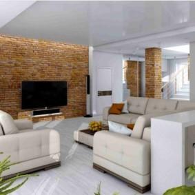кирпичная стена в гостиной виды интерьера